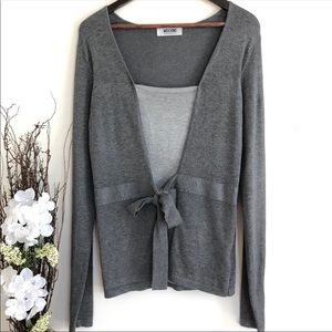 Moschino Gray Knit Blouse Tie front